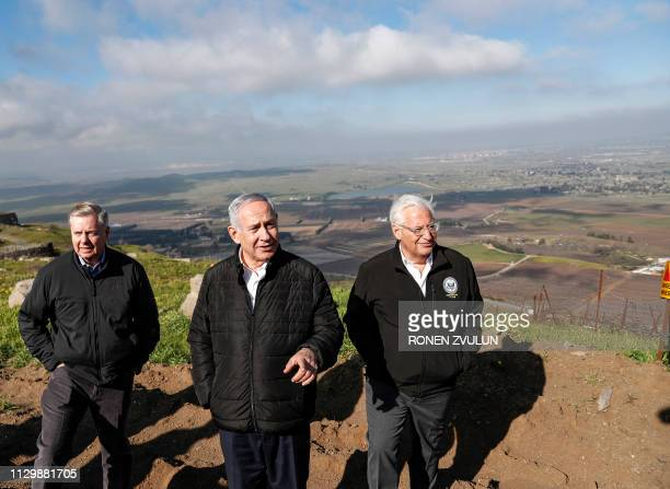US Senator Lindsey Graham is accompanied by Israeli Prime minister Benjamin Netanyahu and US Ambassador to Israel David Friedman as they visit the...