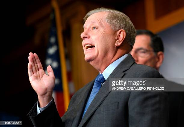 Senator Lindsey Graham, Republican of South Carolina, speaks to the press at the US Capitol on January 24, 2020 in Washington, DC. - Democratic...