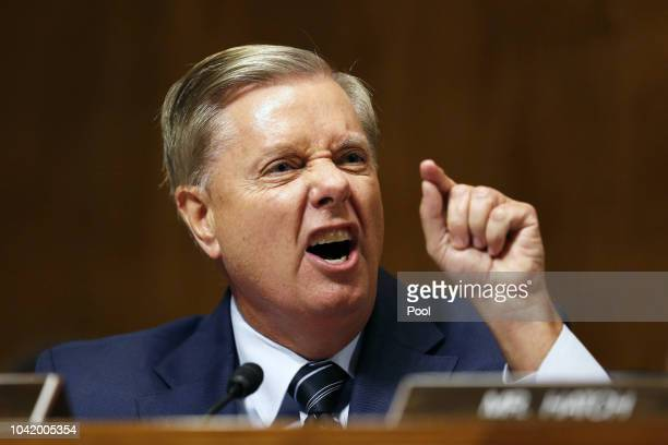 Senator Lindsey Graham speaks at the Senate Judiciary Committee hearing on the nomination of Brett Kavanaugh to be an associate justice of the...