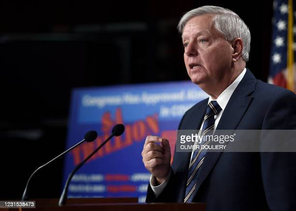 Senator Lindsey Graham speaks during a news conference as the Senate continues to debate the latest Covid-19 relief bill, at the US Capitol in...