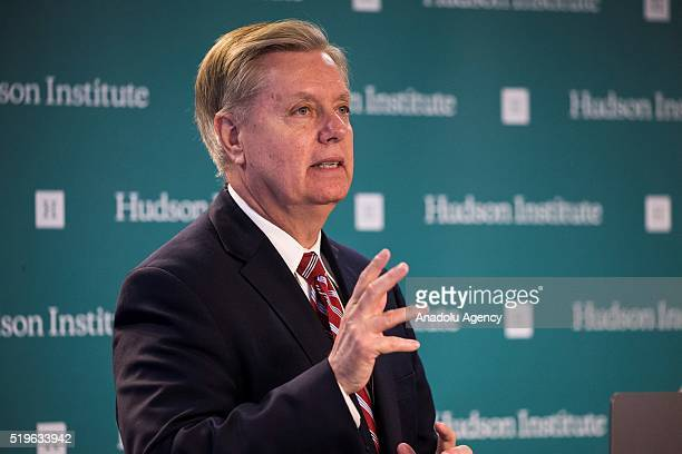 Senator Lindsey Graham speaks during a panel discussion Assessing the Obama Doctrine in the Middle East in Washington USA on April 7 2016