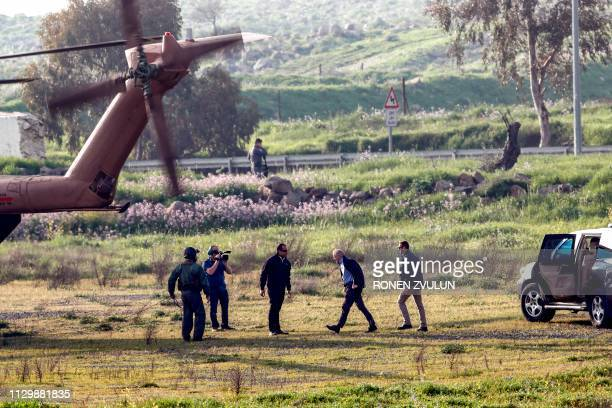Senator Lindsey Graham walks to an Israeli military helicopter following a visit with the Israeli prime minister US ambassador to Israel to the...
