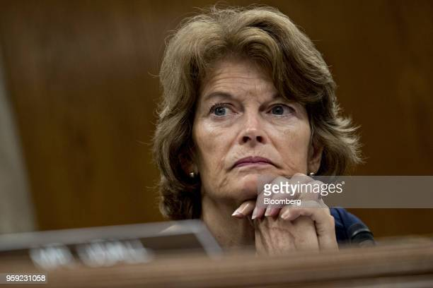 Senator Lisa Murkowski a Republican from Alaska and chairman of the Senate Appropriations Subcommittee on the Interior and Environment listens during...