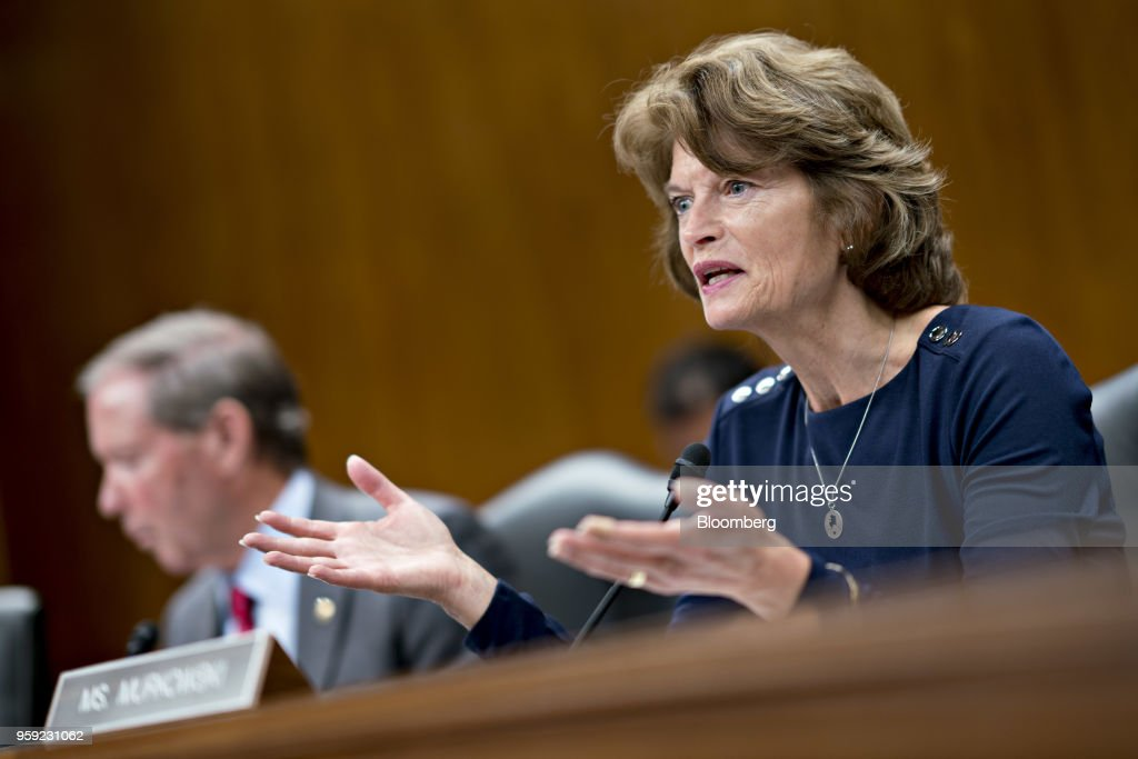 Senator Lisa Murkowski, a Republican from Alaska and chairman of the Senate Appropriations Subcommittee on the Interior and Environment, questions Scott Pruitt, administrator of the Environmental Protection Agency (EPA), not pictured, during a hearing in Washington, D.C., U.S., on Wednesday, May 16, 2018. Pruitt faced intense criticism in his first Senate testimony since a crush of ethical allegations that have put his job in jeopardy. Photographer: Andrew Harrer/Bloomberg via Getty Images