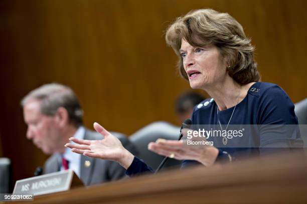 Senator Lisa Murkowski a Republican from Alaska and chairman of the Senate Appropriations Subcommittee on the Interior and Environment questions...