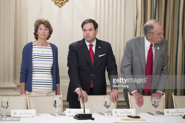 Senator Lisa Murkowski a Republican from Alaska from left Senator Marco Rubio a Republican from Florida and Senator Chuck Grassley a Republican from...