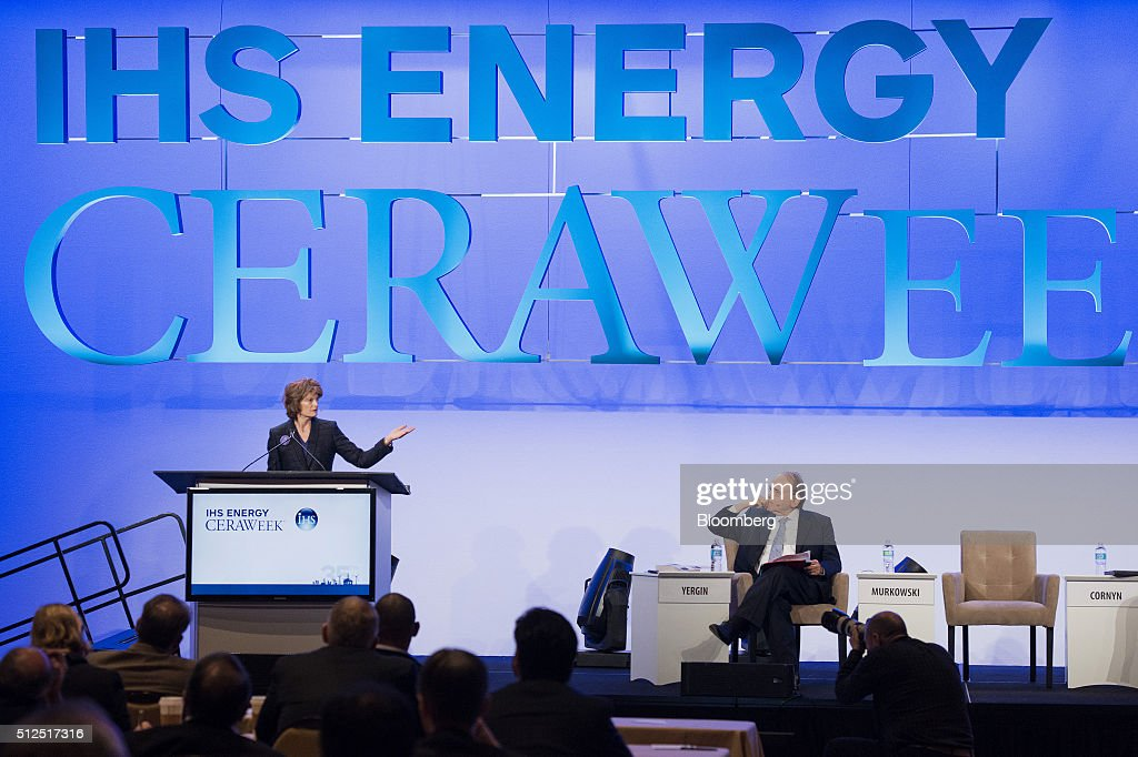 Senator Lisa Murkowski, a Republican from Alaska, left, speaks as Daniel Yergin, vice chairman of IHS Cambridge Energy Research Associates Inc., listens during the 2016 IHS CERAWeek conference in Houston, Texas, U.S., on Friday, Feb. 26, 2016. CERAWeek, in its 35th year, will provide new insights and critically-important dialogue with energy industry leaders, experts, government officials and policymakers, and leaders from the technology, financial and industrial communities. Photographer: Matthew Busch/Bloomberg via Getty Images