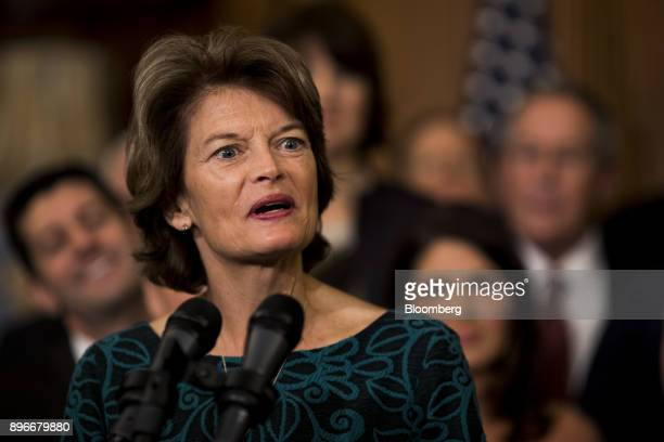 Senator Lisa Murkowski a Republican from Alaska speaks during a Tax Cuts and Jobs Act enrollment ceremony at the US Capitol in Washington DC US on...