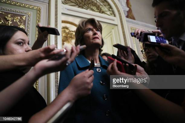 Senator Lisa Murkowski a Republican from Alaska speaks to members of the media on Capitol Hill in Washington DC US on Friday Oct 5 2018...