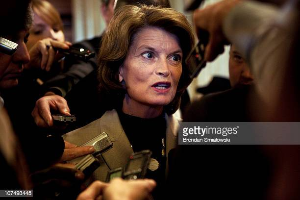 Senator Lisa Murkowski speaks to reporters after voting on Capitol Hill December 9, 2010 in Washington, DC. The US Senate was not able to get a 60...