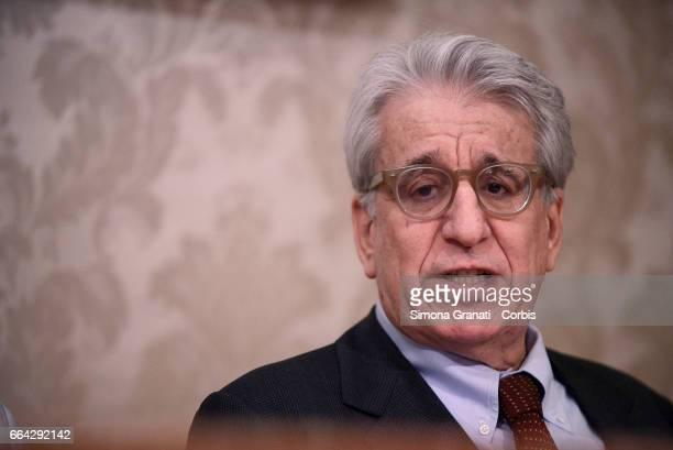 ROME ITALY APRIL Senator Luigi Manconi attends a press conference relating to the case of the murder of Giulio Regeni at the Italian Senate on April...
