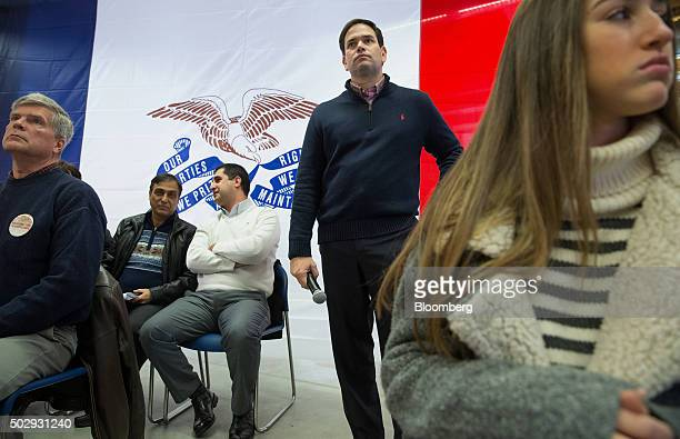 Senator Marco Rubio a Republican from Florida and 2016 presidential candidate waits to speak during a town hall meeting at the Maytag Innovation...
