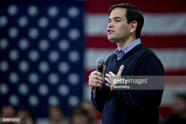 Senator Marco Rubio a Republican from Florida and 2016 presidential candidate speaks during a campaign event at Hood Middle School in Derry New...