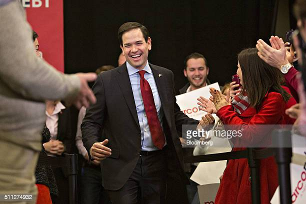 Senator Marco Rubio a Republican from Florida and 2016 presidential candidate arrives to speak during a campaign rally in Columbia South Carolina US...