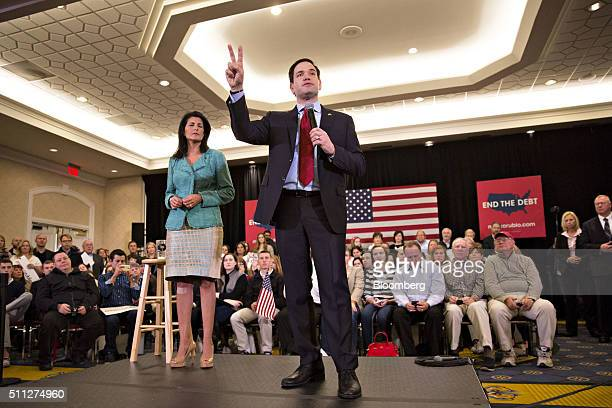 Senator Marco Rubio a Republican from Florida and 2016 presidential candidate speaks during a campaign rally with Nikki Haley governor of South...