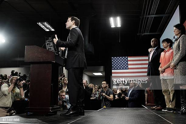 Senator Marco Rubio a Republican from Florida and 2016 presidential candidate speaks during a South Carolina primary night rally in Columbia South...