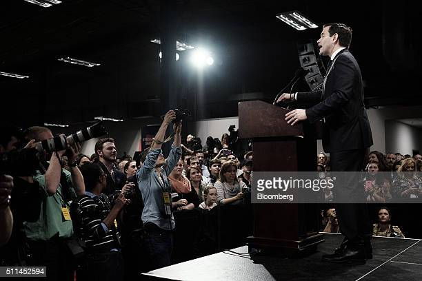 Senator Marco Rubio a Republican from Florida and 2016 presidential candidate center speaks during a South Carolina primary night rally in Columbia...