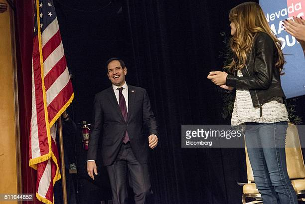 Senator Marco Rubio a Republican from Florida and 2016 presidential candidate walks onto the stage during a campaign event at Texas Station Gambling...