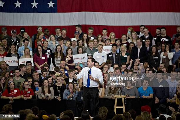 Senator Marco Rubio a Republican from Florida and 2016 presidential candidate speaks during a campaign rally at Roanoke College in Salem Virginia US...
