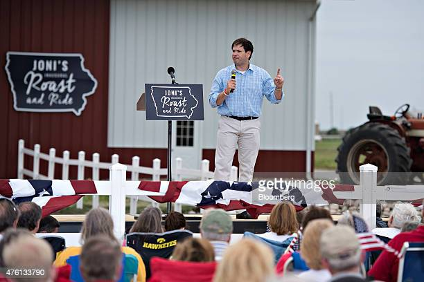 Senator Marco Rubio a Republican from Florida and 2016 US presidential candidate speaks during the inaugural Roast and Ride in Boone Iowa US on...