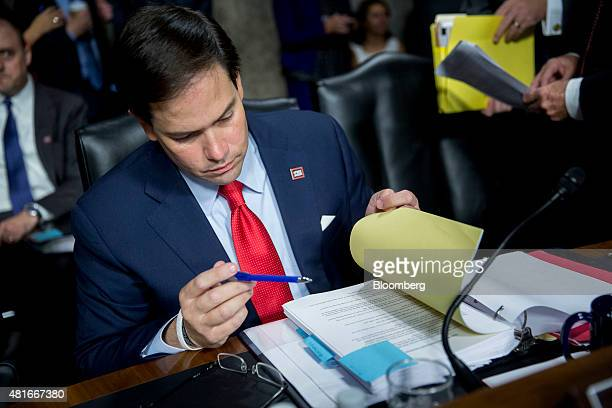 Senator Marco Rubio a Republican from Florida and 2016 US presidential candidate waits to begin a Senate Foreign Relations Committee hearing in...