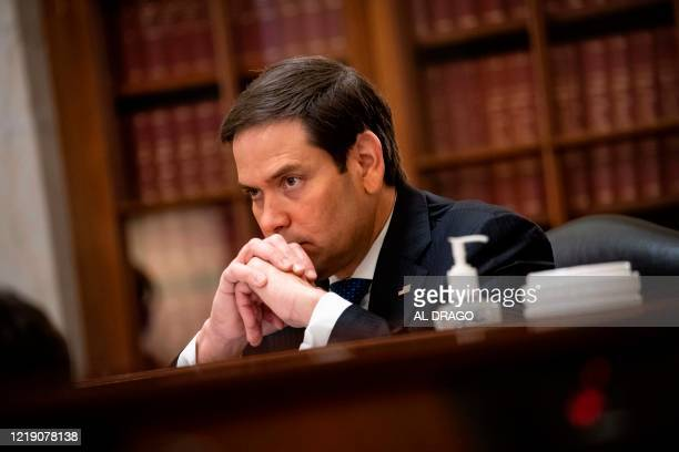 Senator Marco Rubio a Republican from Florida and chairman of the Senate Small Business and Entrepreneurship Committee listens during the Senate...