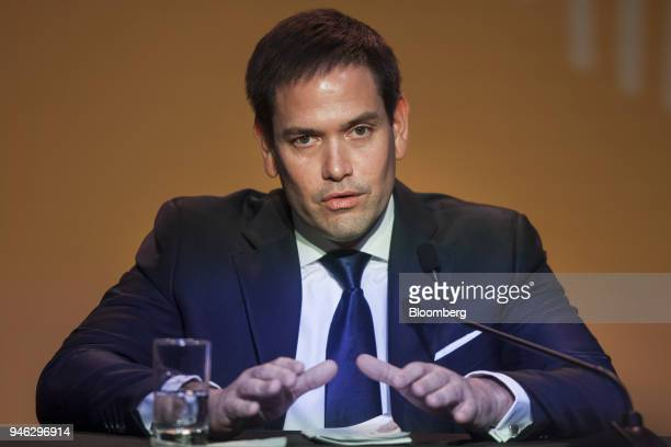 Senator Marco Rubio a Republican from Florida speaks during a press conference at the CEO Summit of the Americas in Lima Peru on Saturday April 14...