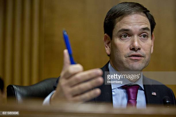 Senator Marco Rubio a Republican from Florida speaks during a Senate Foreign Relations Committee confirmation hearing for Nikki Haley governor of...