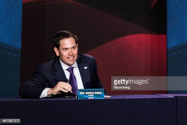 Senator Marco Rubio a Republican from Florida speaks during a roundtable discussion with US President Donald Trump not pictured on tax cuts for...