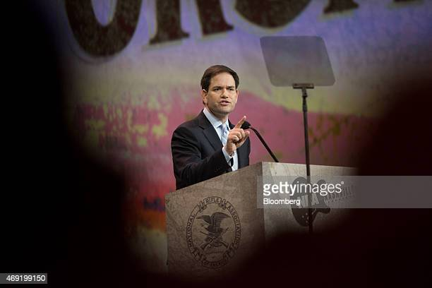 Senator Marco Rubio a Republican from Florida speaks during the Leadership Forum at the 144th National Rifle Association Annual Meetings and Exhibits...