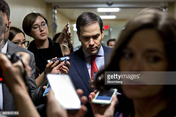 Senator Marco Rubio a Republican from Florida speaks to members of the media before voting on the confirmation of Supreme Court nominee Neil Gorsuch...
