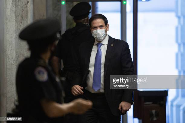 Senator Marco Rubio a Republican from Florida wears a protective mask while arriving at the US Capitol in Washington DC US on Tuesday May 19 2020...