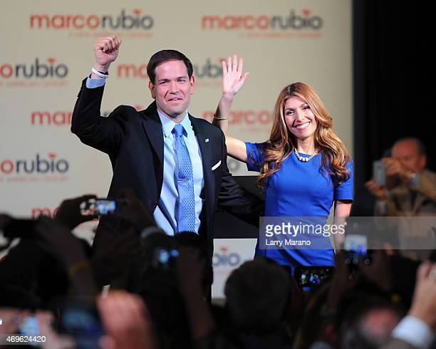 Senator Marco Rubio and Jeanette Rubio are seen on stage after he announces his candidacy for the Republican presidential nomination at The Freedom...