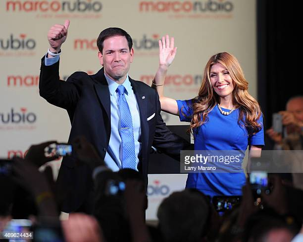 S Senator Marco Rubio and Jeanette Rubio are seen on stage after he announces his candidacy for the Republican presidential nomination at The Freedom...