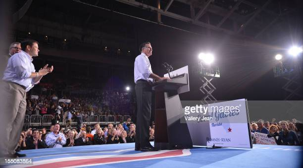 Senator Marco Rubio and Republican presidential candidate former Massachusetts Gov Mitt Romney attend Mitt Romney victory campaign Rally at Bank...