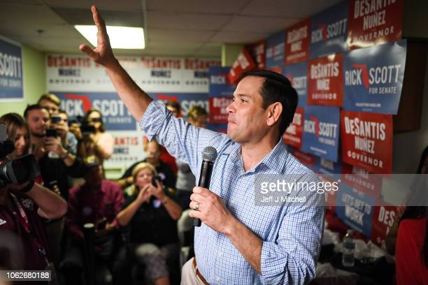 Senator Marco Rubio attends an event with Republican gubernatorial candidate Ron DeSantis at Hillsborough Victory Office on November 2 2018 in Tampa...