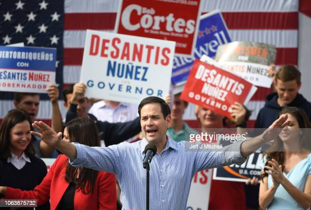 Senator Marco Rubio introduces Republican candidate for Governor of Florida Ron DeSantis as they attend a rally at Freedom Pharmacy on the final day...