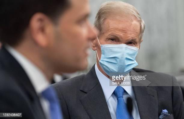 Senator Marco Rubio , Republican of Florida, introduces former US Senator Bill Nelson, nominee to be administrator of NASA, prior to him testifying...