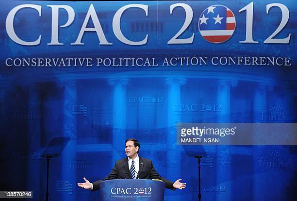 Senator Marco Rubio RFL speaks during an address to the 39th Conservative Political Action Committee February 9 2012 at a hotel in Washington DC AFP...