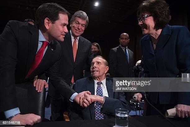 US Senator Marco Rubio RFlorida US Senator Roy Blunt RMissouri and US Senator Susan Collins RMaine welcome former US Senator Bob Dole RKansas who...