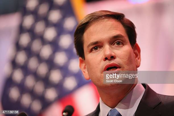 Senator Marco Rubio speaks to guests gathered at the Point of Grace Church for the Iowa Faith and Freedom Coalition 2015 Spring Kickoff on April 25...