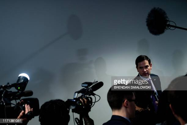 Senator Marco Rubio speaks to reporters after attending a closed meeting of the Senate Select Committee on Intelligence regarding a whistleblower on...