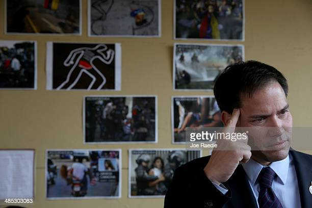 S Senator Marco Rubio speaks to the media in front of a wall dedicated to the victims of the violence in Venezuela as he shows support for the...