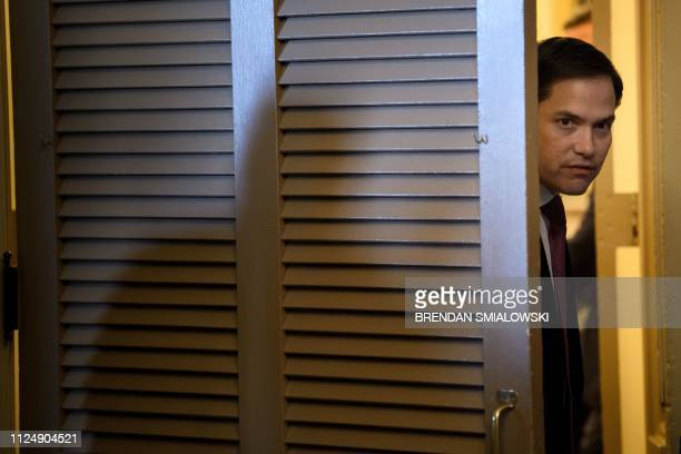 Senator Marco Rubio waits for Colombia's President Ivan Duque before a meeting with the Senate Foreign Relations Committee on Capitol Hill February...