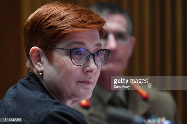 Senator Marise Payne and Chief of the Australian Defence Force General Angus Campbell during the Foreign Affairs, Defence and Trade Legislation...