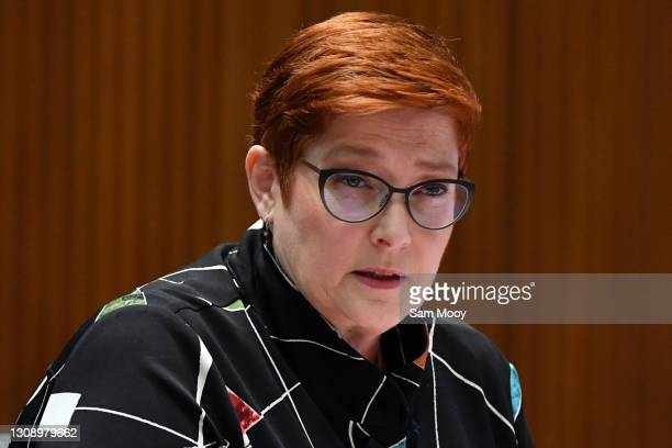 Senator Marise Payne during an appearance at Foreign Affairs, Defence and Trade Legislation Committee at Parliament House on March 25, 2021 in...