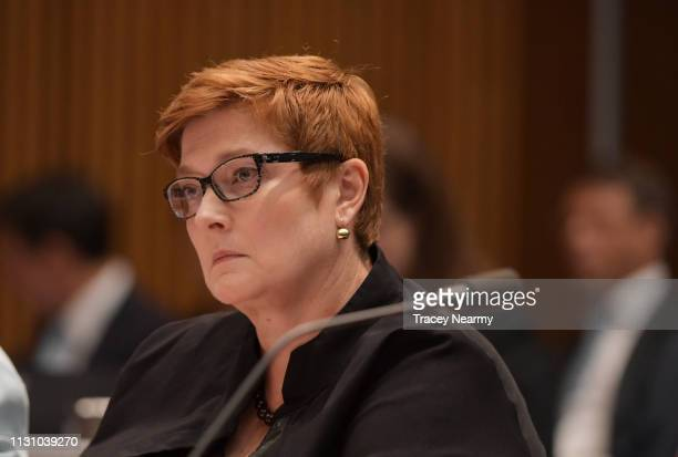 Senator Marise Payne during Senate Estimates for Foreign Affairs, Defence and Trade Legislation Committee at Parliament House on February 21, 2019 in...