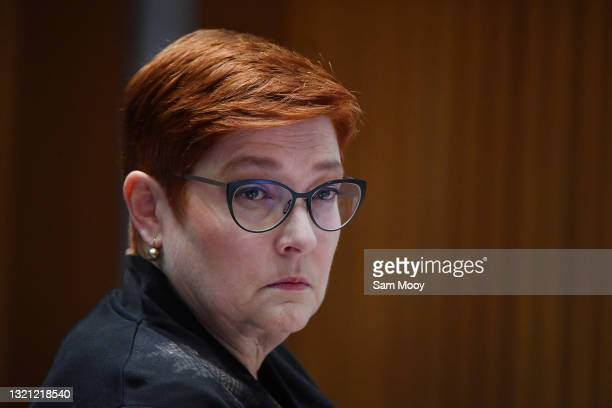 Senator Marise Payne during the Foreign Affairs, Defence and Trade Legislation Budget Estimates 2021–22 at Parliament House on June 02, 2021 in...