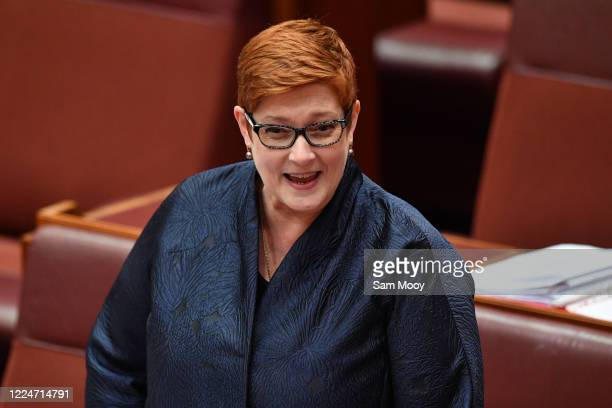 Senator Marise Payne during the opening of Senate business on May 14, 2020 in Canberra, Australia. Today is final day of a special parliamentary...