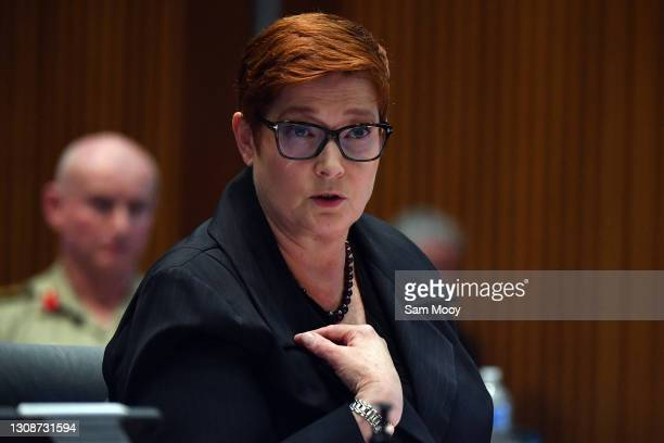 Senator Marise Payne reacts to questioning from Penny Wong during the Foreign Affairs, Defence and Trade Legislation Committee at Parliament House on...